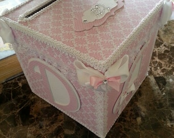 Pink And White Money Card Box / Gift Card Box