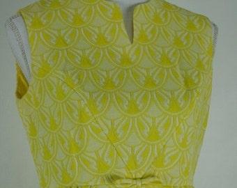 Free Shipping 1960s GAY GIBSON sunshine yellow crimplene mini dress