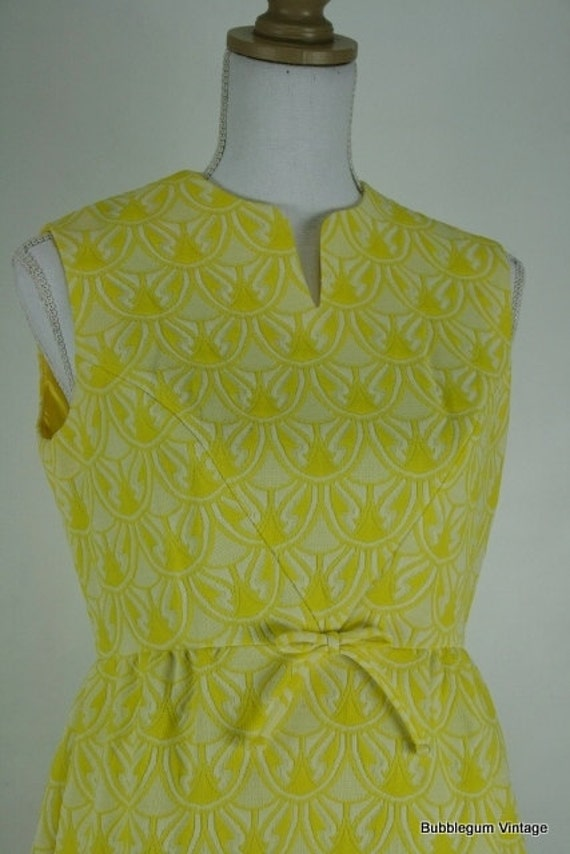 Free Shipping 1960s GAY GIBSON sunshine yellow crimplene mini dress