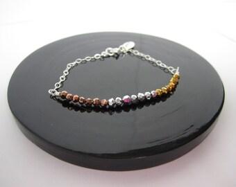 Mixed metallic crystal bracelet