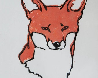 Handprinted A4 Fox Lino Print