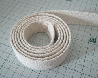 3 Yards, 1 inch (2.5 cm.), Cotton Webbing, Natural White Cotton Webbing, High Quality, Bag Straps, Purses Straps, Belting, Tote Bag Handle