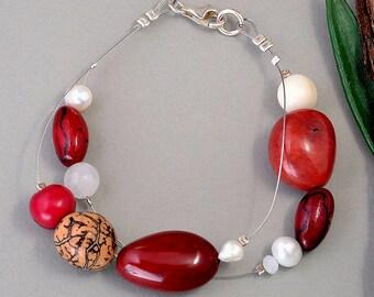 Tagua nut bracelet, garnet beads bangle, vegetable ivory, sustainable jewelry, eco-chic bracelet, layered bangle, women gift idea.