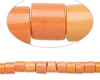 Orange Glass Beads, opaque orange, 4x2mm to 5x3mm, heishi beads, 15 inch string, 93 Beads, D444