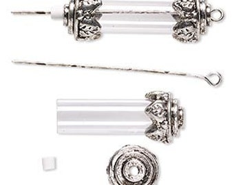 Steampunk charm, antiqued silver-finished steampunk container, 34x12mm with 25x8mm round tube, 2-inch eyepin, 1 each, D385