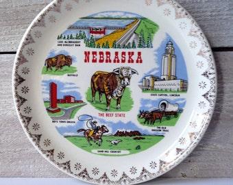 Vintage Nebraska Souvenir Plate