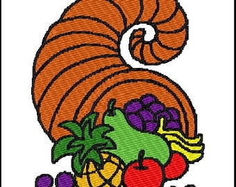 Cornucopia  Fall Embroidery Design