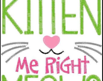 Are you Kitten me right Meow? Embroidery design 6x10
