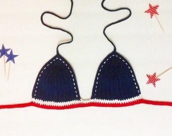 SALE! - Boho Crochet bikini top all american JESSICA - fourth of july red blue and white- cotton