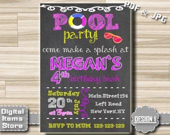 Pool Party Invitation Girl - Birthday Invitation Pool Party - Pool Party Invites - Birthday Invitations Pool, Invitation Girl, Girl Pool