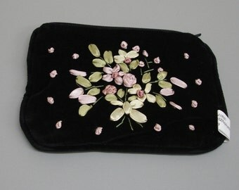 New Black Velvet Embroidered Purse Credit Card Pouch Case Ribbon Decoration RP20