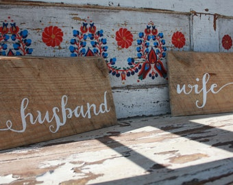 Husband & Wife Custom Wedding Hanging Sign