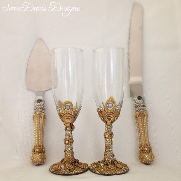 Cake Server And Toasting Flute Set Toasting By SaraDavisDesigns