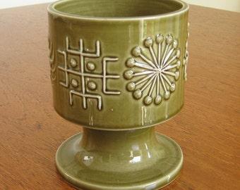 "Portemeirion ""Totem"" soup goblet, planter, designer Susan Williams-Ellis, green, 1960s vintage retro"