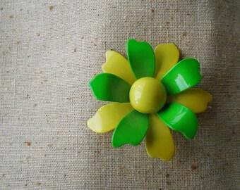 Vintage Neon Enamelware Flower Brooch