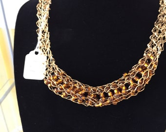 Knitted wire necklace