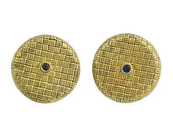 18K Gold Basket Weave Cufflinks with Sapphires