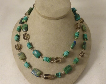 Silpada Sterling, Turquoise, & Quartzite Beaded Necklace - 32""