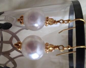 Large VintageFaux Pearl Bead Earrings