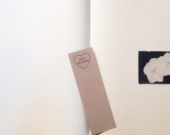 just friends handmade bookmark (rose gold foil)