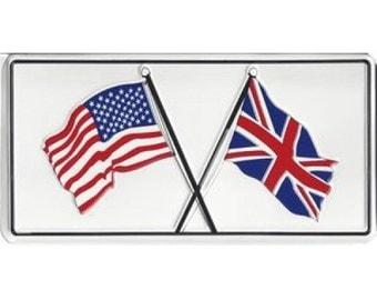 American/British Flags Photo License Plate - LPO860