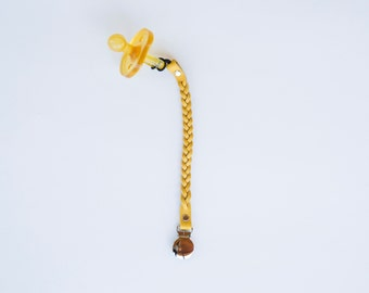 Mustard Braided Leather Pacifier Clip - Single