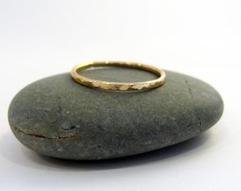 Single 14K Gold Filled Hammered Stacking Ring
