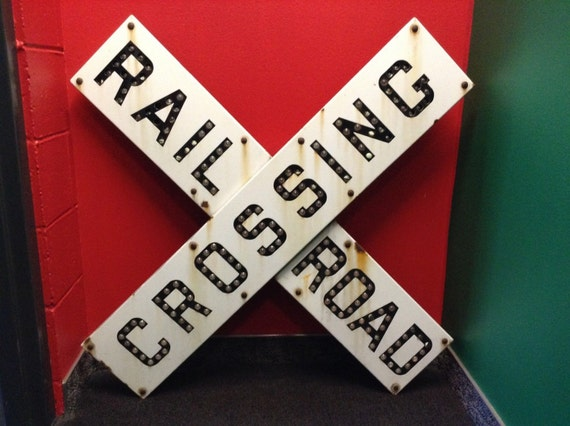Cat Eye Railroad Crossing Sign Vintage Railroad Crossing Sign