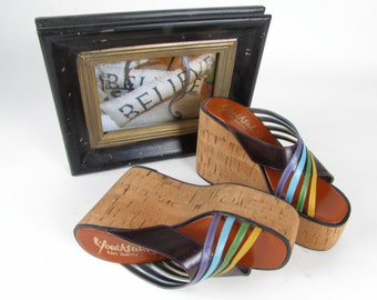 Youthful Multicolored Blue Vintage Platforms with Cork Wedges
