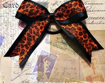 Black and Leopard Pony O Hair Bow with Tails