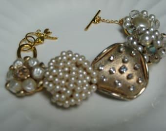Vintage Earring Bracelet, Repurposed, Vintage Earrings, Wedding, Bride (34)