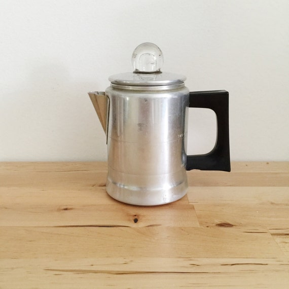 Aluminum vintage percolator camp coffee maker small