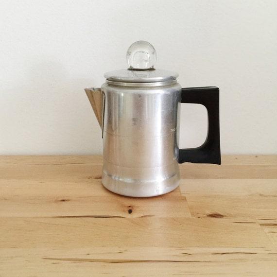 Camping Coffee Maker Percolator : Aluminum vintage percolator camp coffee maker small
