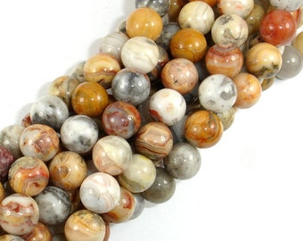 Crazy Lace Agate Beads, 10mm (10.5 mm) Round Beads, 15.5 Inch, Full strand, Approx 38 beads, Hole 1mm, A quality (202054012)