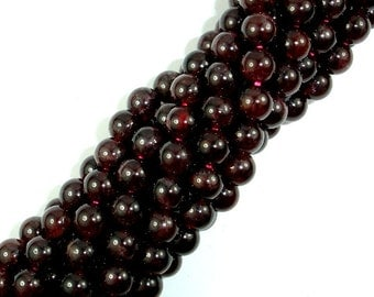 Red Garnet Beads, 6mm (6.6mm) Round Beads, 15.5 Inch, Full strand, Approx 62-68 beads, Hole 1mm (370054014)