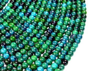 Chrysocolla , 6 mm Round Beads, 16 Inch, Full strand, Approx 65 beads, Hole 1 mm, A quality, Reconstituted (196054007)