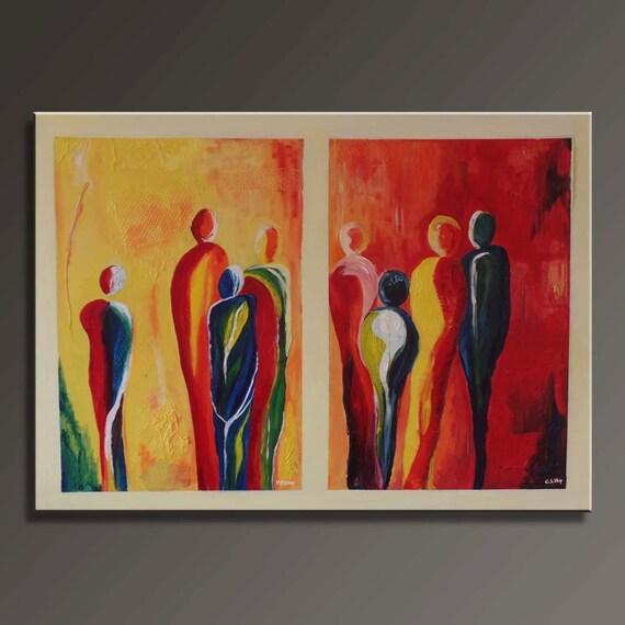 Abstract schilderij met mensen op canvas 115x75cm - Associatie van kleur e geen schilderij ...