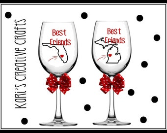 Best Friends Wine Glasses, Miss you Wine Glass, Bestie, BFF, Best Friends Forever Glass, TWO Long Distance Wine Glasses, State to state