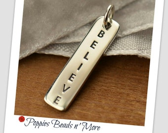 Sterling Silver Vertical Believe Word Tag