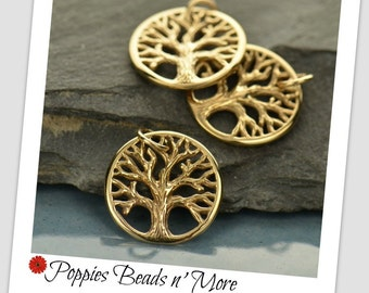 Small Natural Bronze Round Charm with Textured Tree
