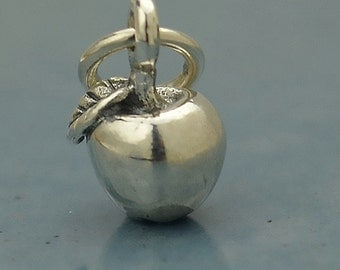 Sterling Silver, Tiny Apple Charm, Apple Charm, Silver Apple, Apple Jewelry, Teacher Gift, Teacher Charm, Teacher Jewelry, Fruit Charm