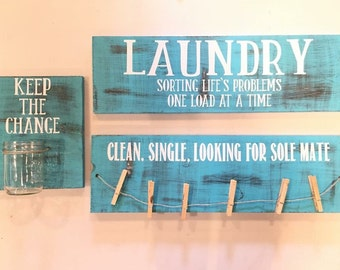 Laundry sign set / teal, black, and white