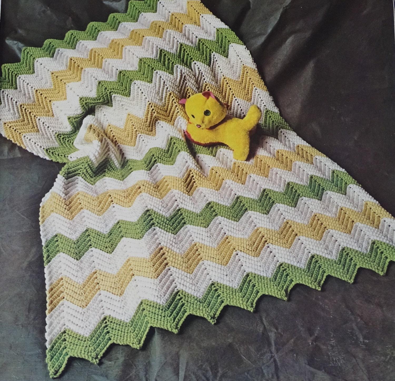 Vintage Crochet Patterns Baby Blankets : Crochet Baby Blanket Pattern Vintage 1970s Blanket Pattern