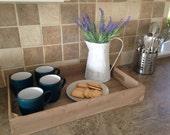 Wooden Tray, handmade wooden apple crate tea tray, serving tray, breakfast tray or garden seedling tray