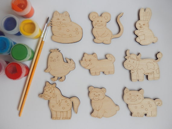 9 animal wood craft shapes for coloring handmade craft for Craft supplies wooden shapes