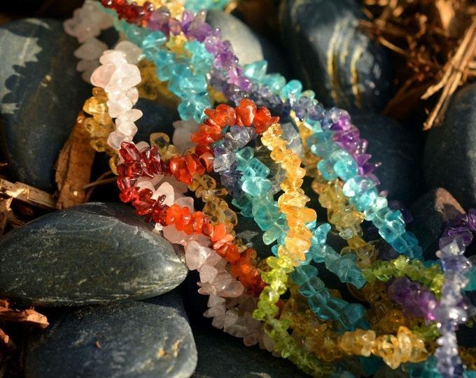 Chakra Necklace w/ Chakra Stones infused w/ Reiki Perfect Healing Chain Jewelry