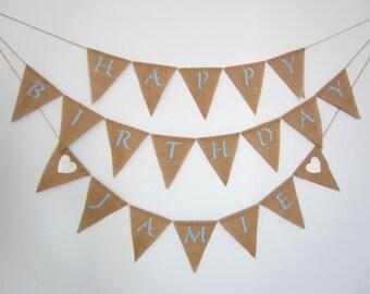 Happy Birthday custom burlap banner - birthday pennant - burlap pennant - birthday bunting
