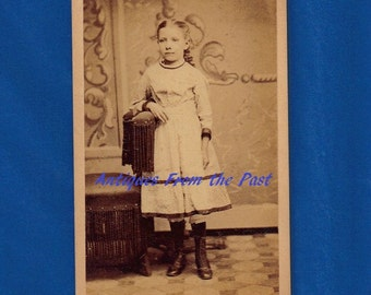 1880's CDV Carte de Visite Photo, Young Girl Leaning on Chair, L. N. Schmidt Photographer Od o. 182 Near Erie St. 302 Milwaukee Ave Chicago