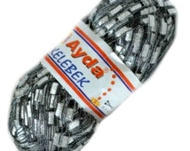 Ayda Metallic Ladder Yarn - #1233 White with Black Edge & Silver Metallic, Ribbon Ladder Yarn, Trellis Ladder yarn, ladder yarn (605)
