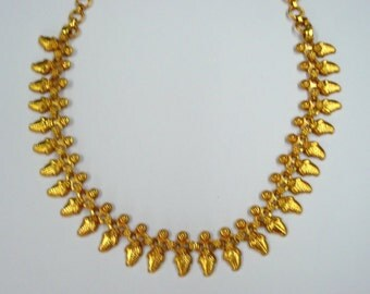 ethnic tribal gold vermeil gold gilded silver necklace choker handmade